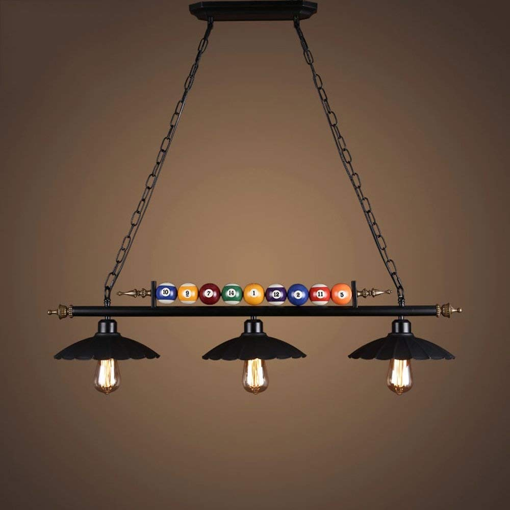 Waitousanqi Exclusive For Billiard Lovers, Restaurant Bar Internet Cafe Front Desk Nostalgic Lamp E27 Retro Industrial Style Creative Billiard Chandelier Clothing Store (size: 3)