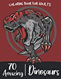 70 AMAZING DINOSAURS COLORING BOOK: An Adults Coloring Book With T-Rex, Triceratops, Stegosaurus, Spinosaurus, Allosaurus, Diplodocus, and much more
