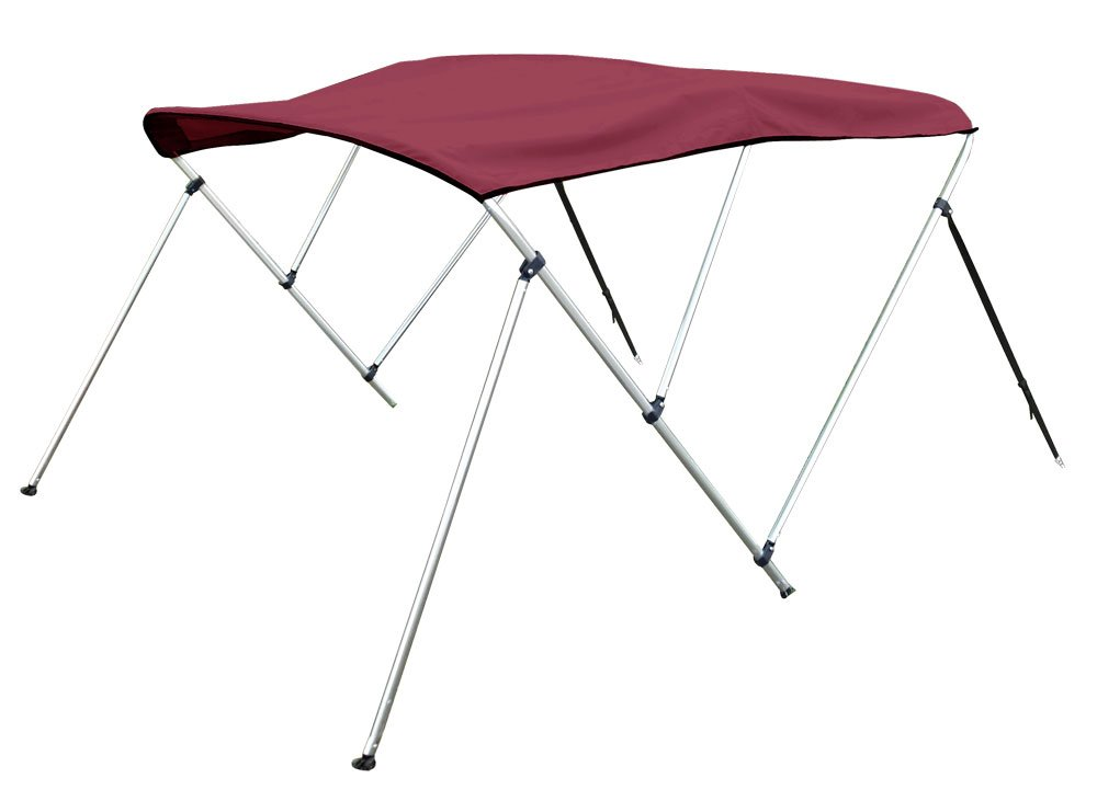 3 Bow Bimini Top Boat Cover 46'' H X 73''-78'' W 6' Long, Includes Rear Support Poles, Burgundy