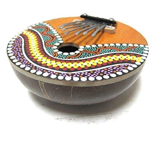 Kalimba Thumb Piano - 7 keys - Tunable - Coconut Shell - Painted, by World Percussion USA (TM) KALCP