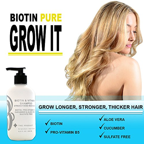 Biotin Hair Growth Shampoo-Biotin Vitamin Shampoo For Hair Loss And Thinning Hair, Sulfate Free Aloe Vera Cucumber Extract With Pro Vitamin B, B. the product 8.5oz. by B THE PRODUCT (Image #7)