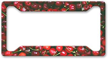 CHERRY CHERRIES Metal License Plate Frame Tag Holder