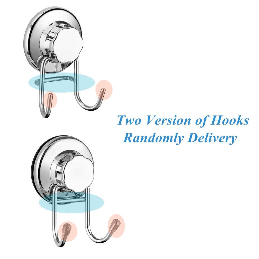 Gancho doble de acero inoxidable y ventosas, resistente y de fácil instalación, ideal para baños o cocinas, para colgar toallas, albornoces, abrigos y otros ...