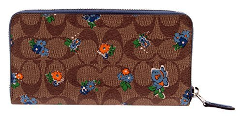 Coach Floral Printed Signature Zip Around Accordion Wallet, F56496 (Brown/Red Multi)