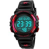 Kid Watch 50M Waterproof Sport LED Alarm Stopwatch Digital Child Wristwatch for Boy Girl Red