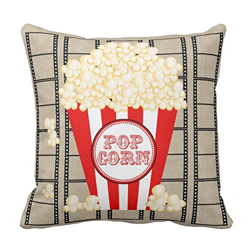 1 Real Theater Popcorn - UOOPOO Movie Theater Popcorn and Film Pillow-Red Home Decorative Throw Pillow Cover Square 16 x 16 Inches Cotton Canvas Wedding Pillow Case Cushion Cover for Sofa One Side Printed