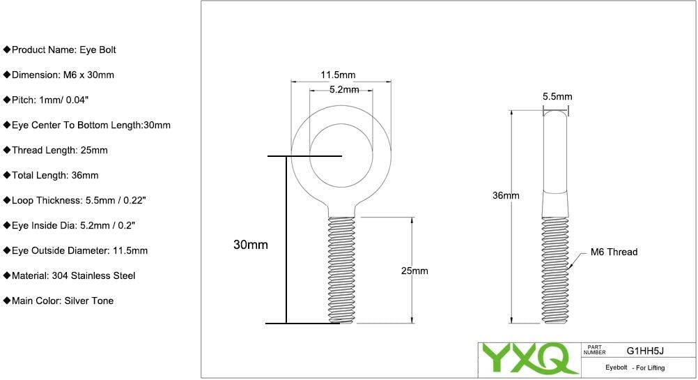 YXQ M6x55mm Eye Bolts 304 Stainless Steel Shoulder Machine Machinery Lifting Screws Lift Rigging Silver Tone 6Pcs