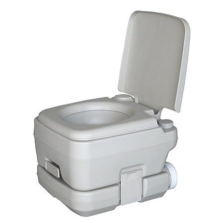Portable Flush Toilet Camping Travel Potty Commode Gray