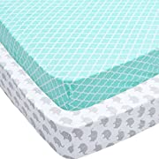Crib Sheets, 2 Pack Mint Quatrefoil & Elephants Fitted Soft Jersey Cotton Cover