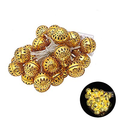 BCHZ 2m 20 LED Morrocan Style Golden Ball Warmwhite Fairy String Light ,Indoor/Outdoor Decor