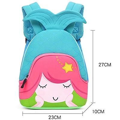 Moonmo Toddler Kids Waterproof Pre School Bag Cute 3D Animal Children School Backpack (Mermaid Blue) | Kids' Backpacks