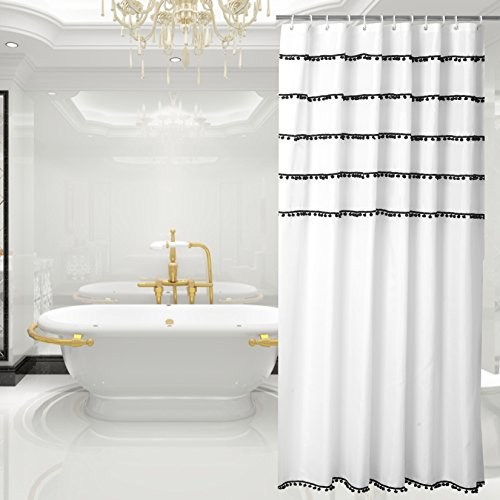 Yuunity Shower Curtain Polyester Fabric Mildew Resistant Water-Proof Non-Toxic Bath Curtain, 72x80-White with Black Tassel (Curtain Shower Tassel)