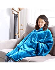 Blanket Hoodie Blanket Ultra Plush Comfy Sweatshirt Huggle Fleece Warm Blue