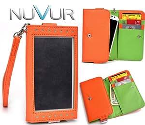 "Orange ""Exposed"" Cover Wallet Phone Case Fits Sony Xperia TX + NuVur ™ Key Chain *ESMLEXG2*"