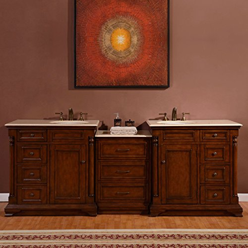 Silkroad Exclusive Marble Stone Top Dual Sink Bathroom Vanity with double Cabinet, 92.5-Inch (Bath Vanity 92)