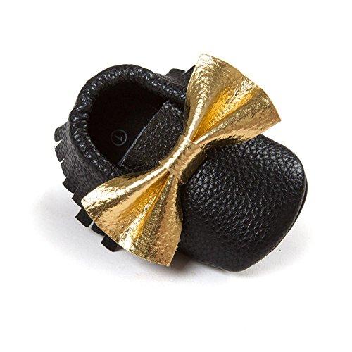 ESHOO Lovely Toddler Bebé Bowknots borla mocasín antideslizante zapatos Prewalker negro Black+Gold Talla:6-12 meses Black+Gold