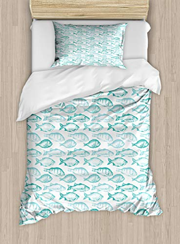 (Ambesonne Bass Duvet Cover Set, Repeating Pattern of Sketchy Fish Breeds in Aqua Color Palette, Decorative 2 Piece Bedding Set with 1 Pillow Sham, Twin Size, Dark Seafoam Aqua Turquoise White)