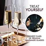 Classy Champagne Flutes - Hand Blown Crystal
