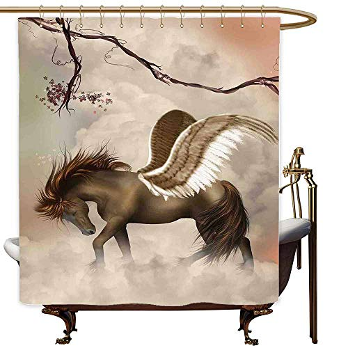 SKDSArts Shower Curtains Zebra Mystic Decor,Huge Winged Pegasus Over Clouds in The Sky with Branches Blooms Magical Scene,Brown Beige Pink,W36 x L72,Shower Curtain for Shower stall