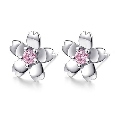 3c6307fbd439 Pendientes de plata de ley 925 con circonitas cúbicas rosas y diseño de  flor y flor
