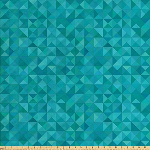 Ambesonne Teal Fabric by The Yard, Geometrical Shapes Triangles Squares Modern Abstract Art Different Shades of Blue, Decorative Fabric for Upholstery and Home Accents,10 Yards, Turquoise Aqua by Ambesonne (Image #1)
