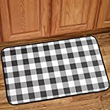 "Sweet Home Collection Memory Foam Anti Fatigue Durable Non Skid Rug for Long Standing Comforter 30"" x 18"" Buffalo Check Black/White"