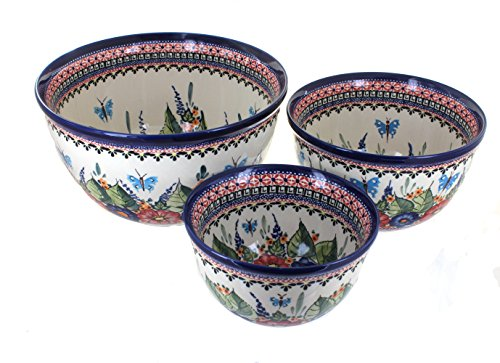 3 Piece Pottery Roses - Blue Rose Polish Pottery Floral Butterfly 3 Piece Mixing Bowl Set