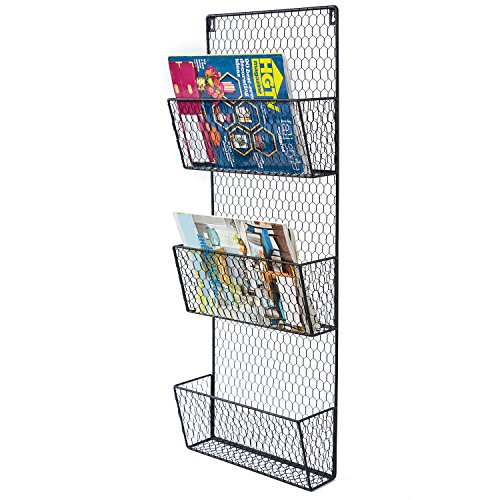 Wire Wall Rack (3-Tier Black Wall Mounted Metal Chicken Wire Mesh Mail Sorter / Letter Holder / Magazine Rack)