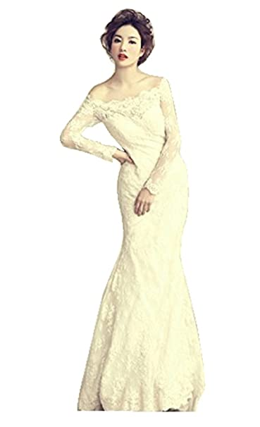 938e49d777a29 千恵モール 花嫁ドレス マーメイドライン 袖あり ウェディングドレス マーメイドシルエット レーススリーブ ロングドレス