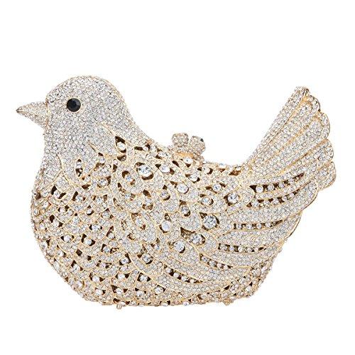 Evening Glitter For Purses Rhinestone Bag Gold Clutch Blue Bonjanvye Bird Girls anXdqq