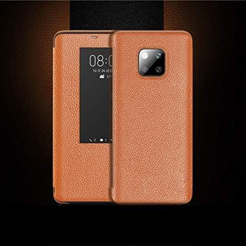 Weeksu Nueva Funda de Cuero con Tapa Horizontal de Grano Superior for Huawei Mate 20 Pro, con función de Respuesta de Llamada y Reposo/activación (marrón) (Color : Brown)