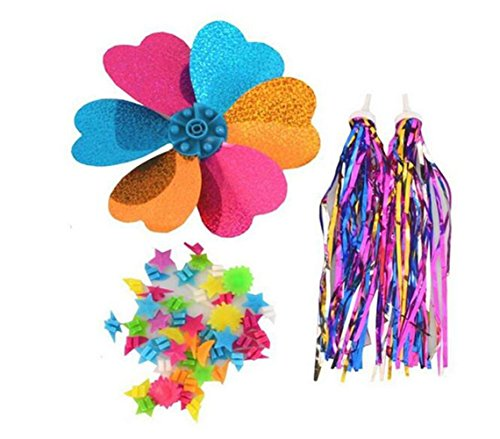 ericotry 1SET(3PCS) Kids' Bicycle Accessories- Children Scooter Bike Handlebar Colourful Streamers Pom-pom Pair Bicycle Grips Sparkle Tassel Ribbon/Flower Pinwheel/Wheel Spoke Stars Beads Decoration