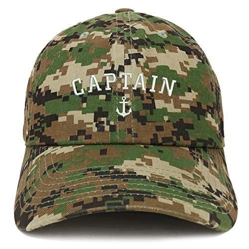 Trendy Apparel Shop Captain Anchor Embroidered Soft Crown 100% Brushed Cotton Cap - Digital Green ()