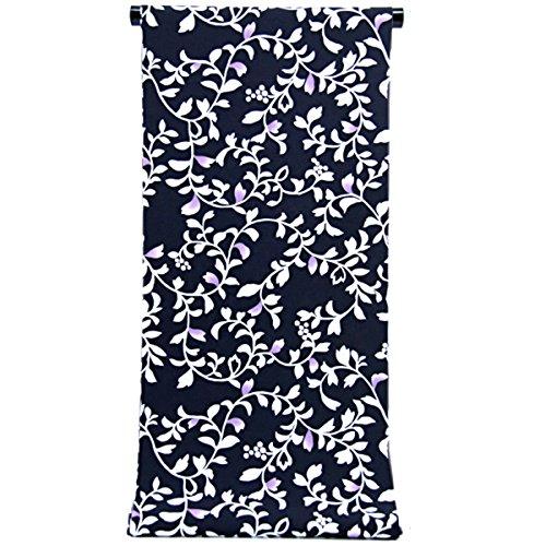 費やすカタログダイジェスト洗える着物 小紋 反物 -72- ポリエステル100% 黒 蔓花