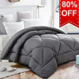 Queen Comforter Duvet Insert with Corner Tabs for Duvet Cover Summer Cooling 2100 Series, Snow Goose Down Alternative, Hotel Collection Reversible, Hypoallergenic Choice, Gray, 88 by 88 inches