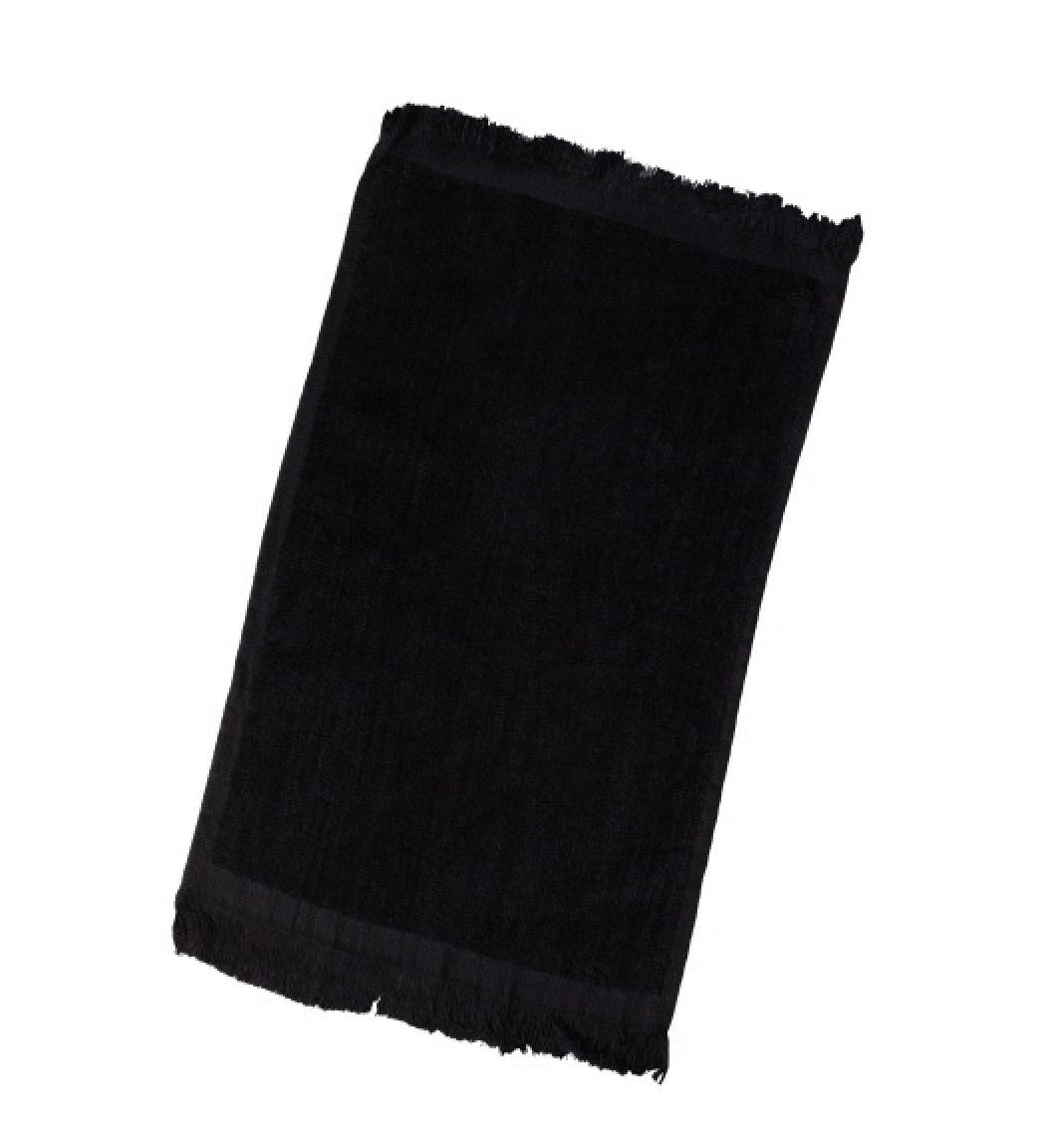 Terry Velour Fingertip Towel with Fringed Ends (6, Black)