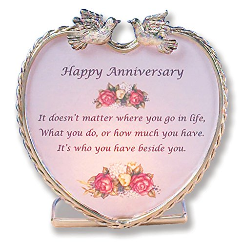 BANBERRY DESIGNS Happy Anniversary - Heart Candle Holder with Wedding Anniversary Poem - Roses and Dove Design ()