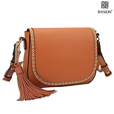 Tassel Grommets Crossbody Bags for Women Designer Shoulder Purses Vegan Leather Messenger Bag