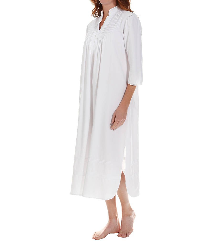 Thea Virginia Fine Brushed Cotton Flannel Gown (8090) M/White