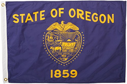 (Annin Flagmakers Model 144450 Oregon State Flag Nylon SolarGuard NYL-Glo, 2x3 ft, 100% Made in USA to Official Design Specifications)