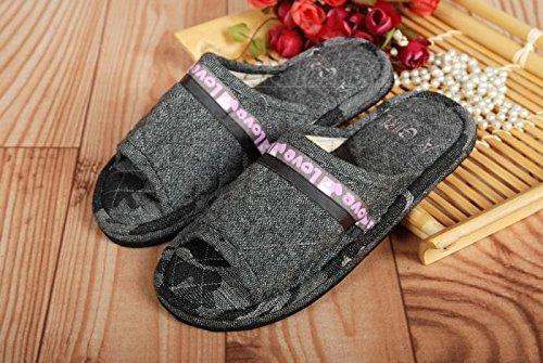 Coppie fankou home scarpe moquette del pavimento cotone pantofole ,42, marrone