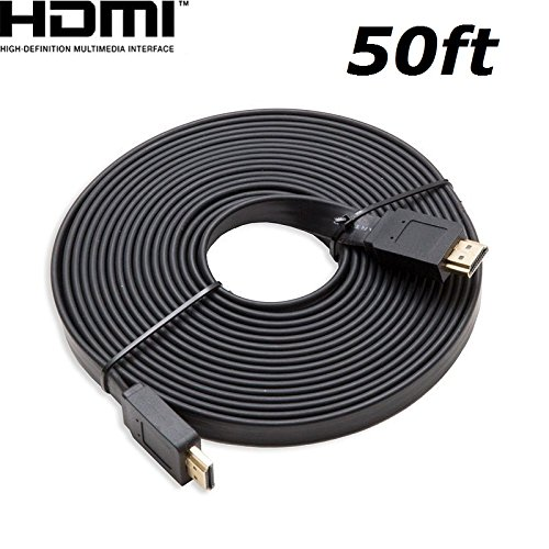 CableVantage FLAT HDMI Cable 50FT Cord Supports 3D Ethernet 1080P Audio Return, HDTV to Satellite Box Home Theater Video Game,For PC TV Monitors PS4 Xbox One Black (Box Pc Satellite)