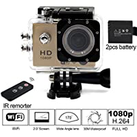 Besteye 2.0 Full HD 12MP Sports Action Camera WIFI 1080P with 170°A+ Wide Angle 30M Waterproof IR Remote Golden Sport DV with 2 Battery HDMI Mini Sport Camera