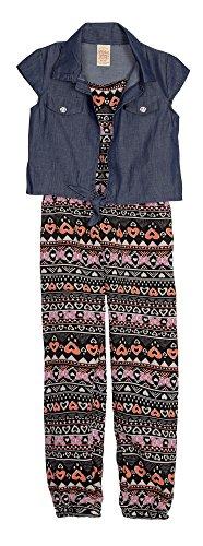(FG16S765) George Big Girls Printed Challis Jumpsuit and Shrug Romper Set in (Challis Printed Skirt)