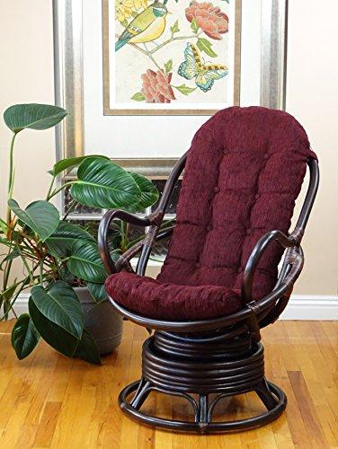 (Lounge Swivel Rocking Java Chair Natural Rattan Wicker Handmade with Dark Brown Cushion, Dark Brown)