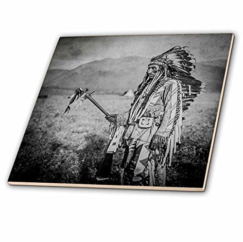 Scenes from the Past Stereoview - Stereoview Native American Indian Joe La Moose in Full Regalia Vintage - 4 Inch Ceramic Tile (ct_240521_1) American Ceramic Tile