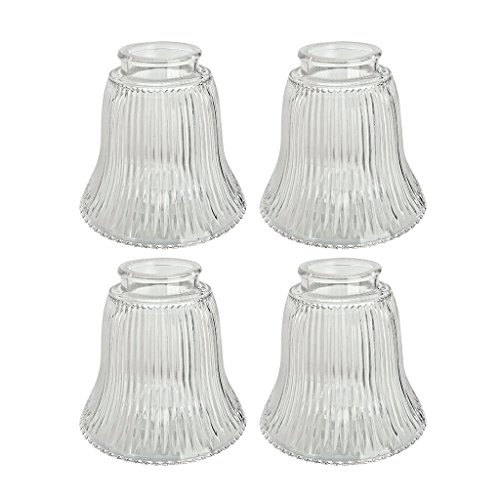 "Aspen Creative 23010-4 2-1/8"" Fitter Size 4-1/2"" high x 4-3/4"" Diameter Transitional Style Replacement Bell Shaped Ribbed Glass Shade (4 Pack)"