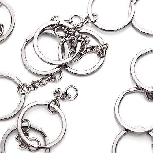 10 Pieces - 16K Silver Plated Keychain Ring With Extender Chain Keychain Supply Wholesale Jewelry Bulk Discount Keychain Findings - 10PKC - Keychain Plated Brass