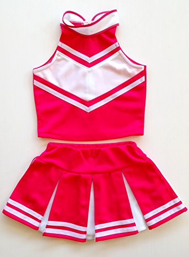 [Little Girls' Cheerleader Cheerleading Outfit Uniform Costume Cosplay Pink/White (L / 8-10)] (Cheerleader Outfit For Girls)