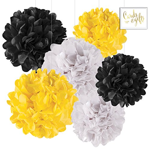 Andaz Press Hanging Tissue Paper Pom Poms Party Decor Trio Kit with Free Party Sign, White, Yellow, Black, 6-Pack, For Baby Bridal Shower Decorations